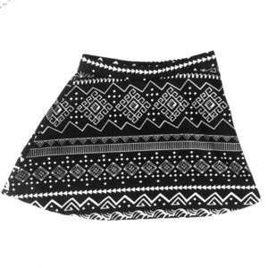 Black and white multi patterned skirt